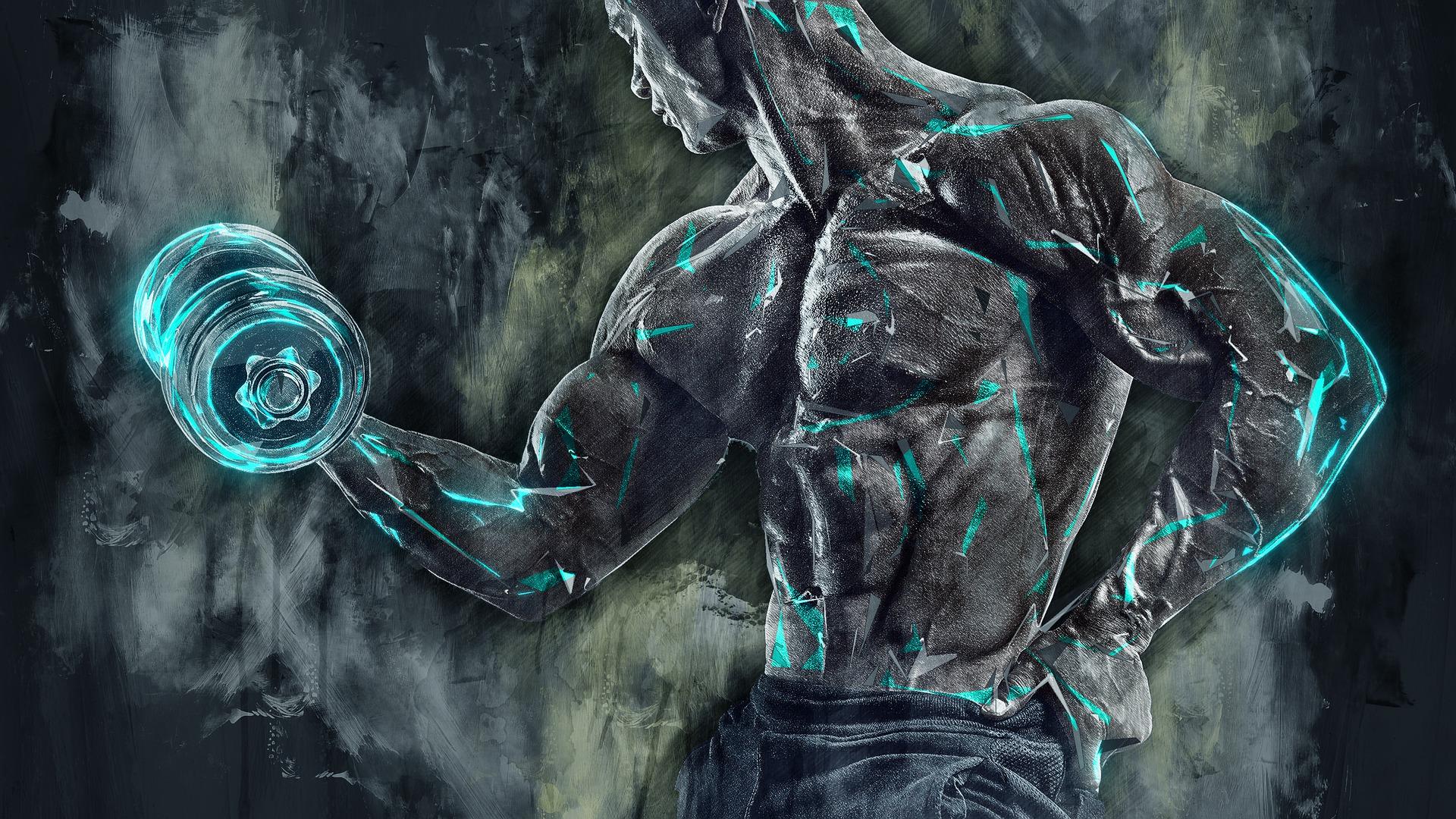 Un haut du corps musclé et fort avec les dips